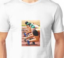 Womens running race start from the rear. Unisex T-Shirt