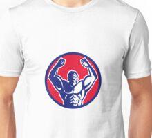 Body Builder Flexing Muscles Circle Retro Unisex T-Shirt