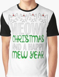Meowy Christmas T Shirt Kitty T-Shirt Cat Meowy Christmas And A Happy New Year T-Shirt Gifts For Christmas Xmas Mens Tee MD-285 Graphic T-Shirt