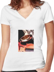 Close up of musical instruments Women's Fitted V-Neck T-Shirt