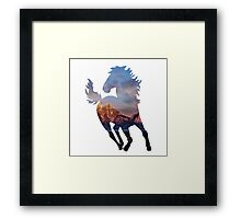 Wild Mustang Horse and Rocky Mountains Silhouette  Framed Print