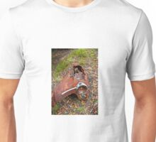 Rusted car fender laying in junk yard Unisex T-Shirt