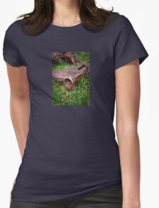 Rusted car fender laying in junk yard Womens Fitted T-Shirt