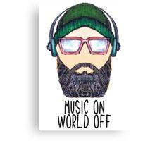 Music On World Off Canvas Print
