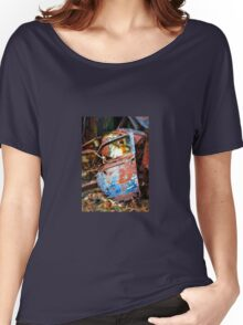 Rusted old car door abandoned in scrap yard Women's Relaxed Fit T-Shirt