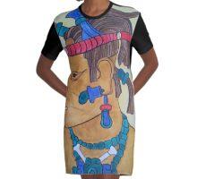 MAYAN CHIEF- SPEAR THROWER Graphic T-Shirt Dress