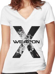 Wolverine •X-Men •Weapon X Women's Fitted V-Neck T-Shirt