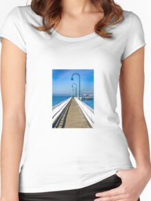 Public pier at holliday resort Women's Fitted Scoop T-Shirt