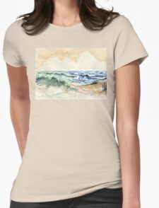 Towards the pebbled shore Womens Fitted T-Shirt