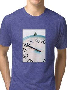 Snail on white clock face at bewitching hour Tri-blend T-Shirt