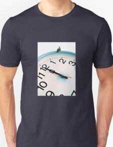 Snail on white clock face at bewitching hour Unisex T-Shirt