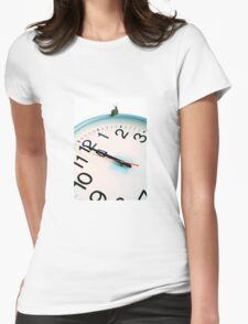 Snail on white clock face at bewitching hour Womens Fitted T-Shirt