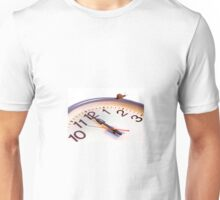 White face clock with snail on rim Unisex T-Shirt
