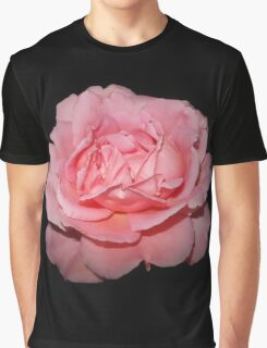 Pink Rose on Black Graphic T-Shirt
