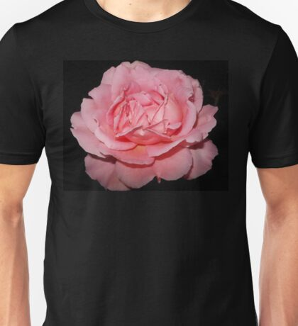 Pink Rose on Black Unisex T-Shirt