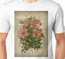 Botanical print, on old book page - flowers- Pink Lily Unisex T-Shirt