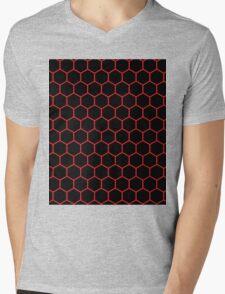 Hexed Red Mens V-Neck T-Shirt