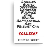 Winter Soldier Activation Code Words - Plain Canvas Print
