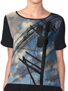 blue sky telephone wires Chiffon Top