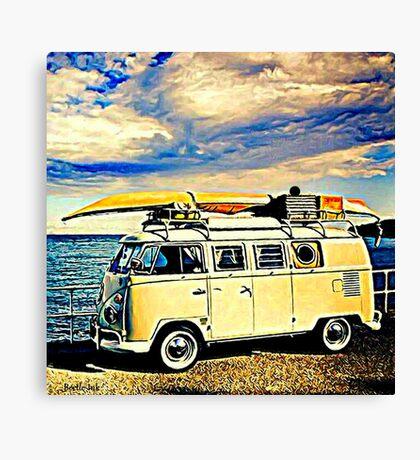 Canoe & Bus Canvas Print