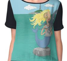 Mermaid and squid on the open sea Chiffon Top