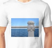 Detail of white handrail by the sea. Unisex T-Shirt