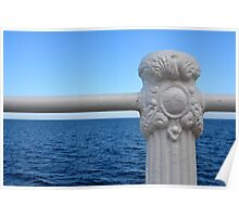 Detail of white handrail by the sea. Poster