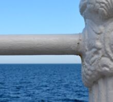Detail of white handrail by the sea. Sticker