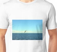 Seagull flying above the sea. Unisex T-Shirt