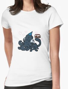 Squid With Cake Womens Fitted T-Shirt