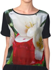 Red & White Tulips Chiffon Top
