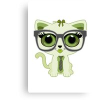 Kitten Nerd - Green Canvas Print