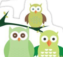 Green Owls Sticker