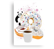 Panda & White Donuts Canvas Print