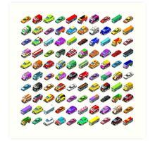 Cars Game Icons Isometric Vehicles Art Print