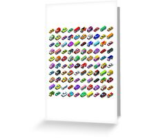 Cars Game Icons Isometric Vehicles Greeting Card