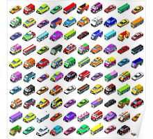 Cars Game Icons Isometric Vehicles Poster