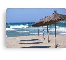 Sea , sand and umbrella  Canvas Print