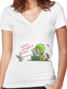 happy father's day Women's Fitted V-Neck T-Shirt