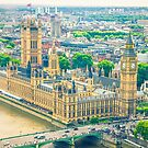 Aerial view of the Big Ben, the Parliament and the Thames river by gianliguori