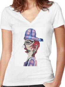 Theatre Officiando Shadow Puppet  Women's Fitted V-Neck T-Shirt