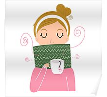 Beautiful Girl holding Tea vector Illustration Poster