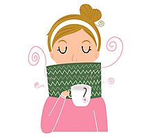 Beautiful Girl holding Tea vector Illustration Photographic Print