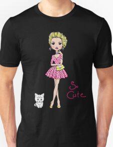 Pop Art girl in dress with cat T-Shirt