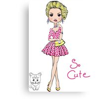 Pop Art girl in dress with cat Canvas Print