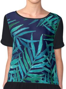 Watercolor Palm Leaves on Navy Chiffon Top