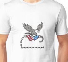 American Eagle Clutching Towing J Hook Flag Drape Retro Unisex T-Shirt