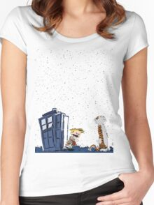 Calvin & Hobbes : Time Travel Women's Fitted Scoop T-Shirt