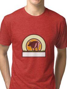 Pig Tail Rear Circle Woodcut Tri-blend T-Shirt