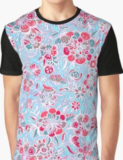 Sweet Spring Floral - cherry red & bright aqua Graphic T-Shirt